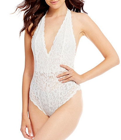 Free People Avery Plunging Halter Neck Scallop Edge Lace Bodysuit