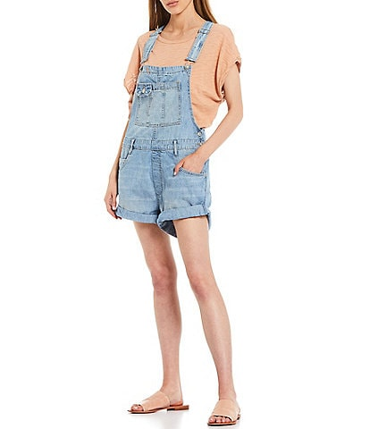 Free People Baggy Rolled Up Hem Square Neck Sleeveless Shortalls