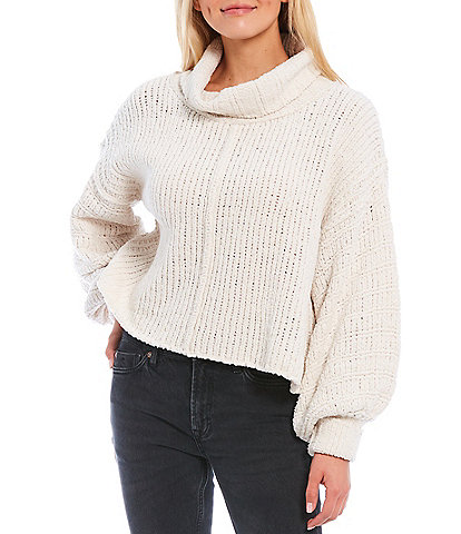 Free People Be Yours Long Balloon Sleeve Funnel Neck Pullover