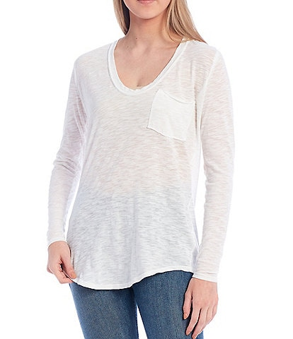 Free People Betty Scoop Neck Long Sleeve Knit Pocket Tee