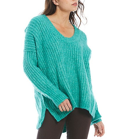 Free People Blue Bell Scoop Neck Cable Knit Drop Shoulder High-Low Oversized Pullover Sweater
