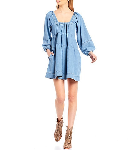 Free People Blue Jean Babydoll Puffed Long Sleeve Dress