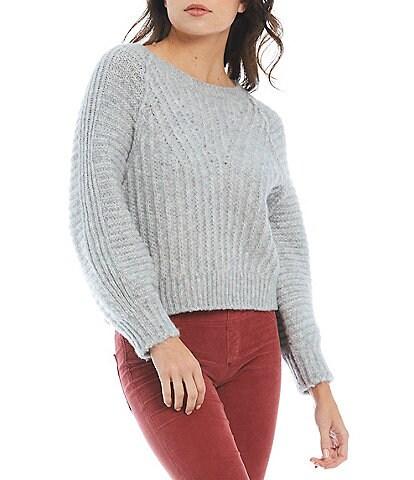 Free People Carter Boat Neck Long Blouson Sleeve Sweater