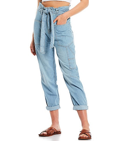 Free People Bombay Denim Paperbag Waist Belted Ankle Pant