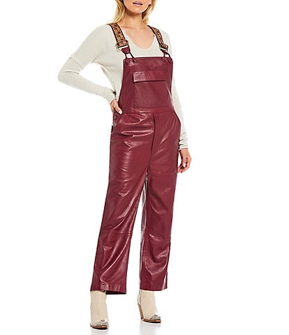 Free People Brooklyn Authentic Lambskin Leather Square Neck Overalls