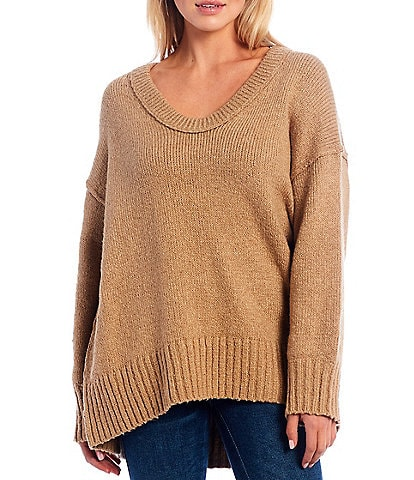 Free People Brookside Oversized V-Neck Curved Hem Sweater Tunic