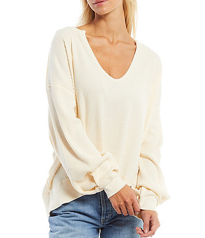 Free People Buttercup V-Neck Drop Shoulder Long Sleeve Thermal Knit Oversized Top