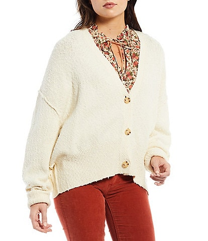 Free People Button-Front Long Sleeve V-Neck Textured Found My Friend Cardigan