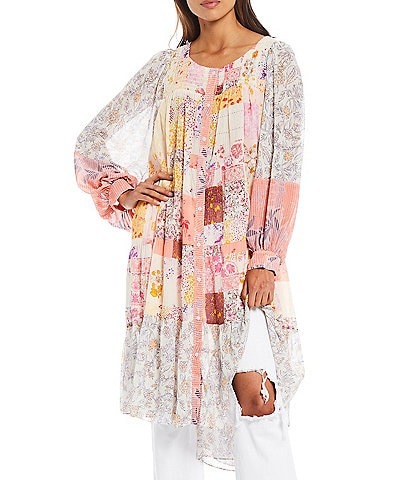 Free People California Soul Printed Button Front Long Top