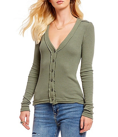 Free People Call Me Cardi V-Neck Button Front Long Sleeve Knit Top