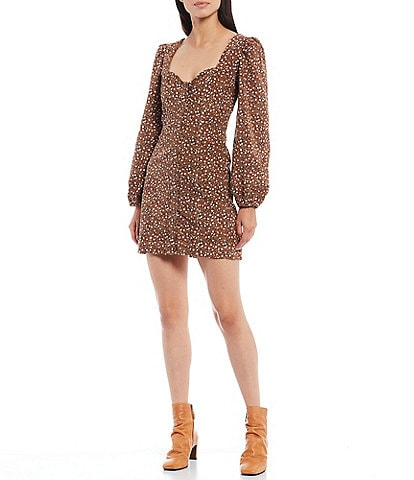 Free People Call Me Cord Dot Print Sweetheart 3/4 Puff Sleeve Mini Dress