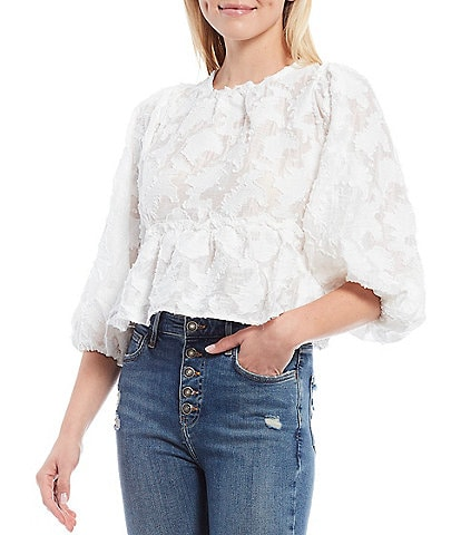 Free People Callie Lace Inspired 3/4 Puff Sleeve Open Back Top