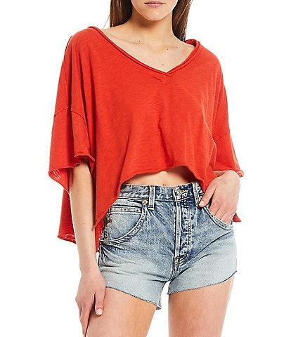 Free People Cally V-Neck Short Sleeve Cropped Tee
