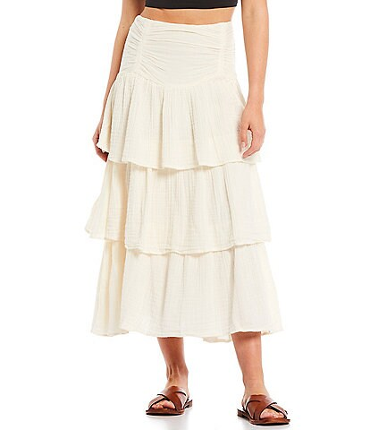Free People Can't Stop The Spring Tiered Midi Skirt