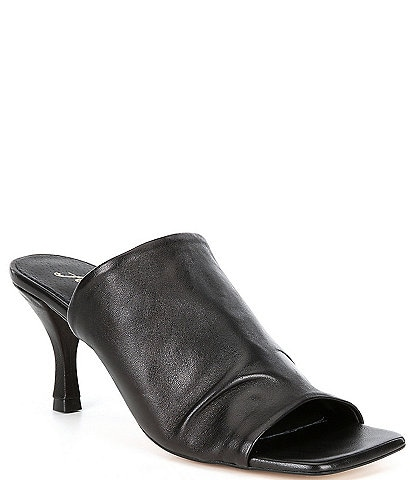 Free People Cara Square Toe Ruched Leather Mules