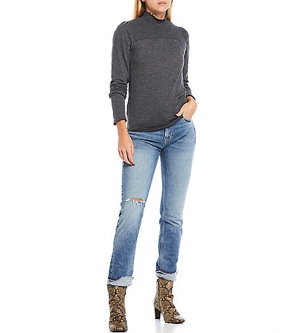 Free People Caroline Smocked Mock Neck Long Sleeve Knit Tee