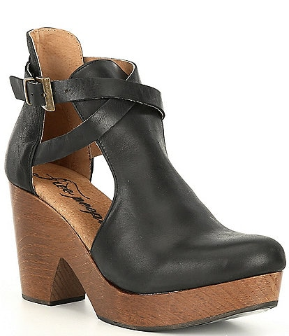 Free People Cedar Leather Buckle Wood Clogs