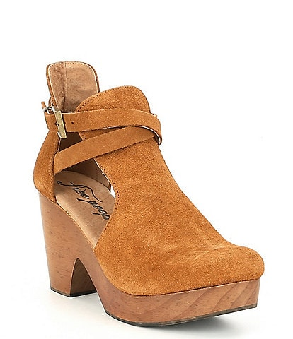 Free People Cedar Suede Buckle Wood Clogs