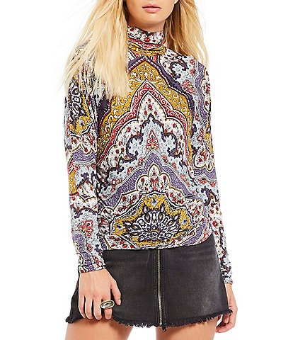 Free People Chase Me Printed Mock Neck Tee
