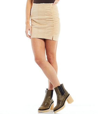 Free People Cinched Seam High-Rise Slit Detail Faux Suede Avas Mini Skirt