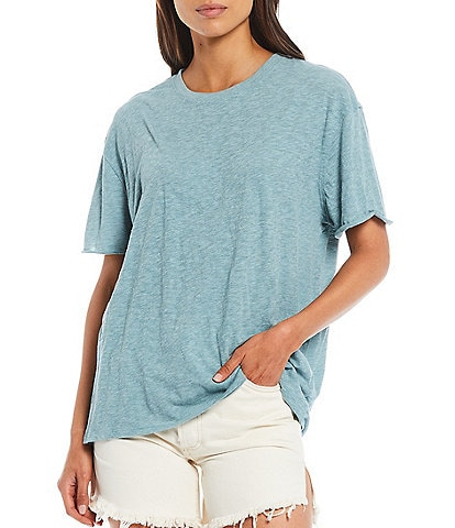 Free People Clarity Ringer Short Sleeve Crew Neck Cotton Blend Tee