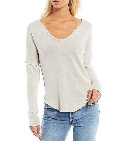 Free People Come and Get It V-Neck Drop Shoulder Long Sleeve Knit Top