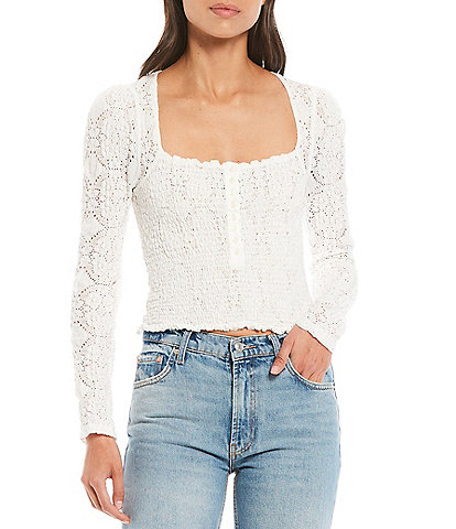 Free People Confection Long Puff Sleeve Top