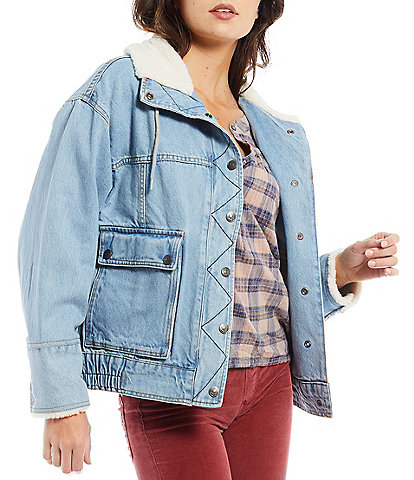 Free People Cozy Denim Sherpa Stand Collar Snap Front Long Sleeve Ariel Cozy Bomber Jacket