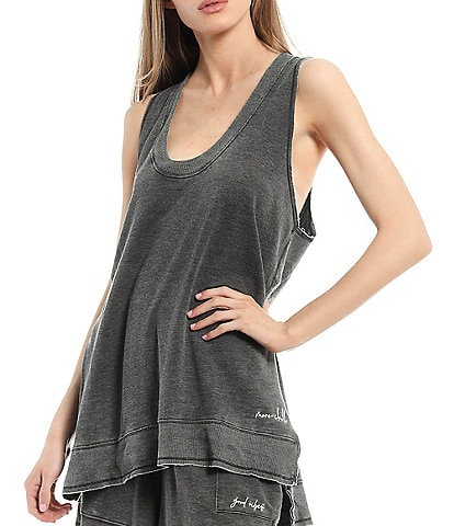Free People Cozy Girl Distressed Coordinating V-Neck Tank