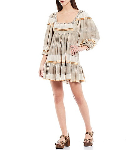 Free People Cozy Striped Puff Sleeve Square Neck Mini Babydoll Dress