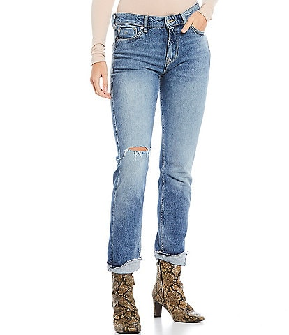 Free People Cuffed Destruction Detail Slim Boyfriend Jeans