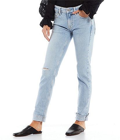 Free People Cuffed Destruction Detail Slim Boyfriend Jeans