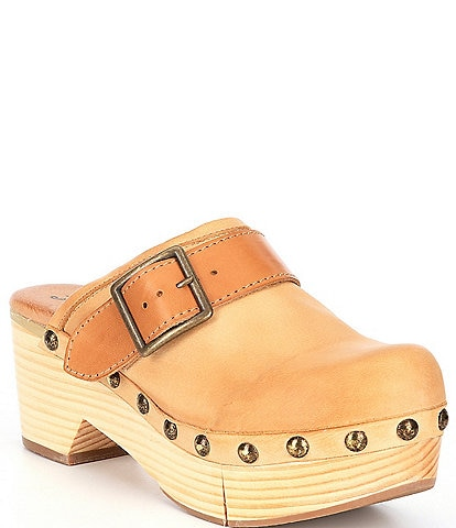 Free People Culver City Leather Studded Buckled Strap Clogs