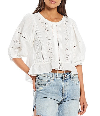 Free People Daisy Chains Eyelet Puff Sleeve Top