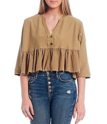Free People Dallas Cropped Henley V-Neck Top