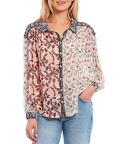 Free People Dani Button Down Paisley Pieced-Print Long Sleeve Top