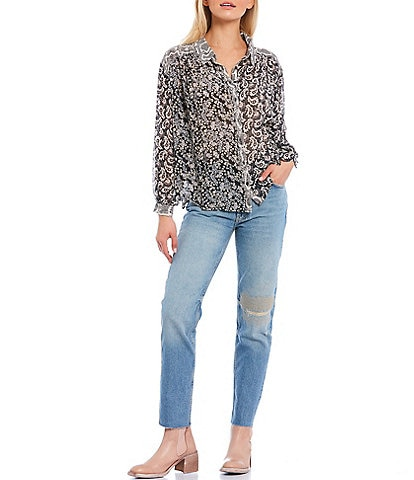 Free People Dani Button Down Pieced-Print Long Sleeve Top