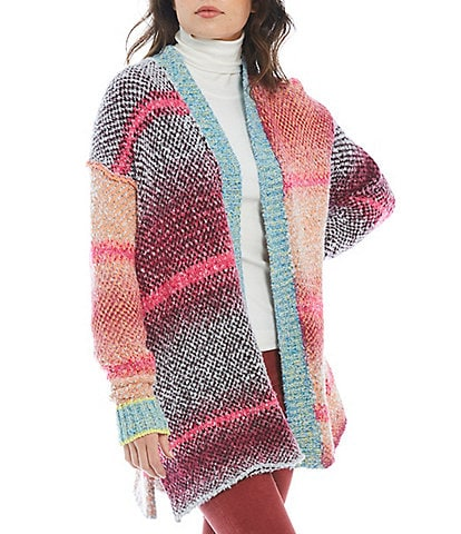 Free People Daydream Striped Drop Shoulder Open-Front Long Sleeve Cardigan