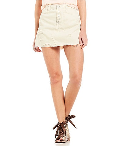 Free People Denim Raw Frayed Hem Skirt