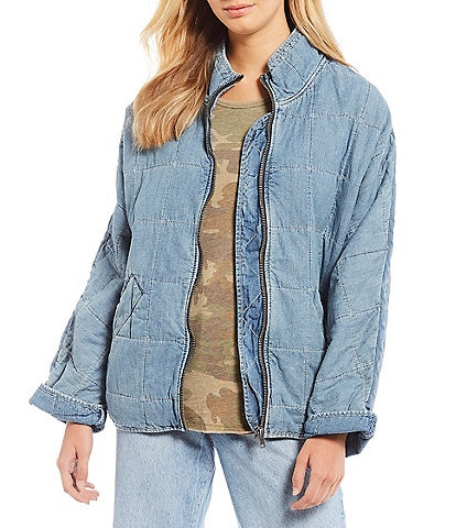 Free People Dolman Quilted Zip Front Denim Jacket
