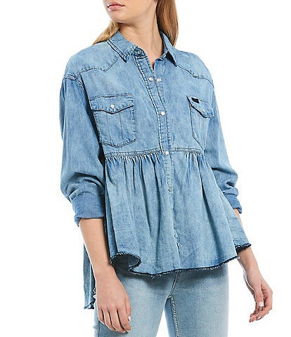 Free People Dylan Babydoll Snap Front Chambray Frayed Hem Blouse