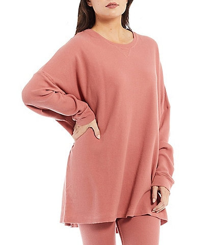 Free People Early Night Crew Neck Drop Shoulder Long Dolman Sleeve Coordinating Thermal Pullover