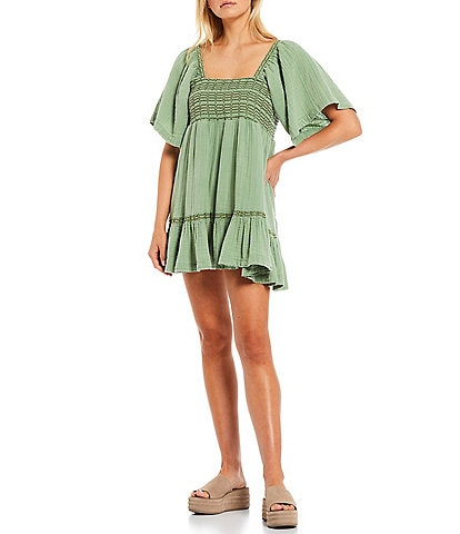Free People Easy to Love Bubble Contrast Stitch Back Tie Square Neck Elbow Sleeve Smocked Detail Mini Dress