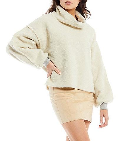 Free People Elk Mountain Cowl Turtleneck Drop Shoulder Long Sleeve Fleece Knit Pullover