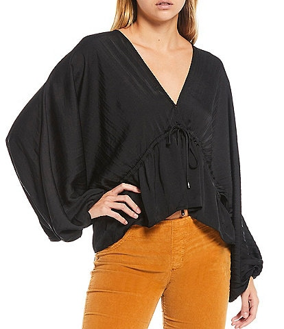 Free People Elousie V-Neck Puff Sleeve Drawstring Waist Exposed Back Blouse
