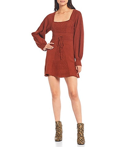 Free People Emmaline Square Neck Puff Sleeve Drawstring Waist Mini Sweater Dress