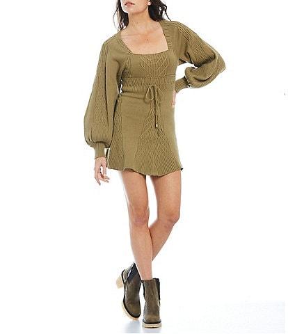 Free People Emmaline Square Neck Puff Long Sleeve Drawstring Waist Mini Sweater Dress