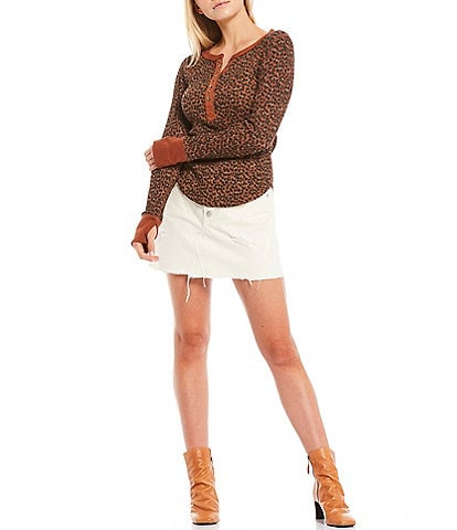 Free People Everest Leopard Print Soft Waffle Knit Henley Top
