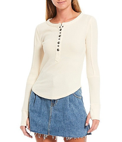 Free People Everest Solid Soft Waffle Knit Henley Top