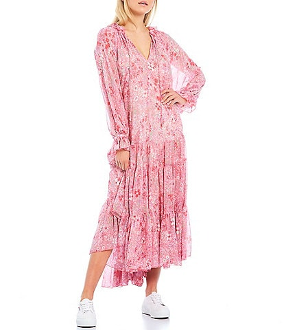 Free People Feeling Groovy Long Sleeve Tiered Ruffle Hem Summer Pink Floral Print Midi Dress